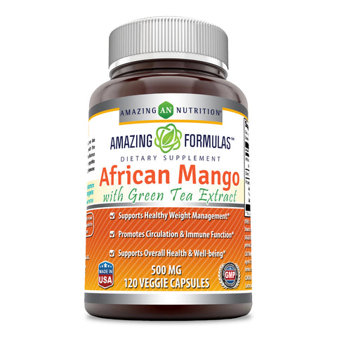 Amazing Formulas - African Mango with Green Tea Extract Dietary Supplement - 500 Milligrams - 120 Capsules (Non-GMO,Gluten Free) - Supports Healthy Weight - Promotes Better Immune Function & GoodFor Heart