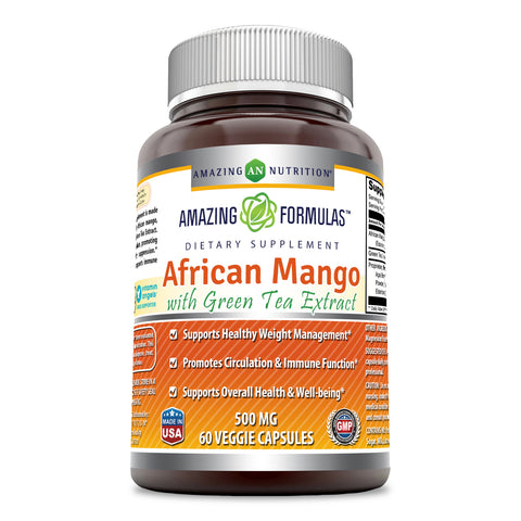 Image of Amazing Formulas - African Mango with Green Tea Extract Dietary Supplement - 500 Milligrams - 60 Capsules - Supports Healthy Weight - Promotes Better Immune Function