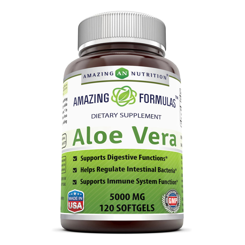 Amazing Nutrition Amazing Formulas Aloe Vera 5000 mg 120 Softgels (Non-GMO,Gluten Free) * Ideal As A Natural Remedy to Soothe The Stomach, Supports Detoxification and Healthy Digestion