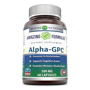 Amazing Formulas - Alpha-GPC Dietary Supplement - 300 Milligrams - 60 Capsules