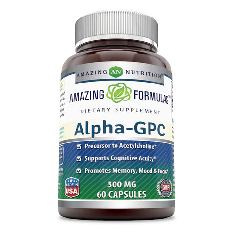 Image of Amazing Formulas - Alpha-GPC Dietary Supplement - 300 Milligrams - 60 Capsules (Non-GMO,Gluten Free) Promotes Positive Mood, Better Concentration and Memory, Supports Acetylcholine Function.