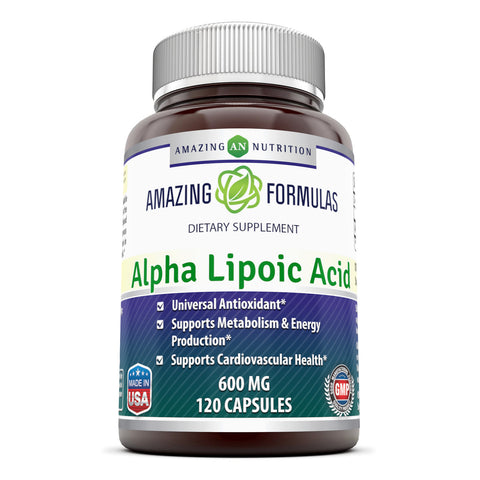 Image of Amazing Formulas Alpha Lipoic Acid * 600mg 120 Capsules Per Bottle * Pure ALA Capsules (Non-GMO,Gluten Free)- Ideal Formulas Supplement for Healthy Weight Management, Athletic Performance & More