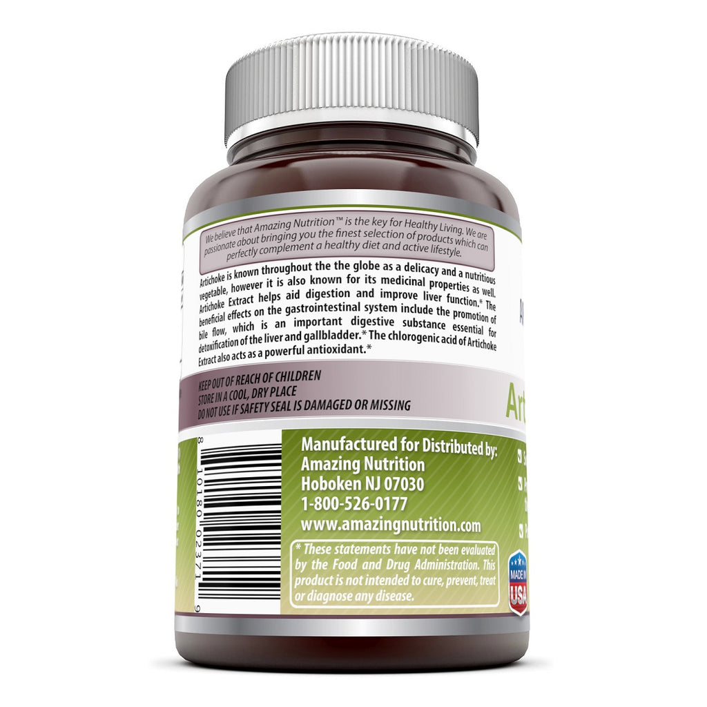 Amazing Formulas Artichoke Extract Dietary Supplement 500 mg 180 Capsules