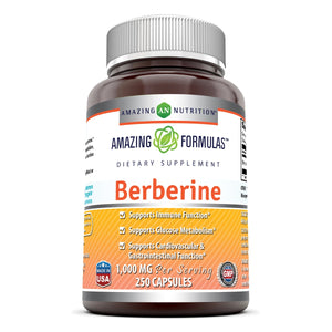 Amazing Formulas Berberine Plus 1000 Mg Per Serving 250 Capsules