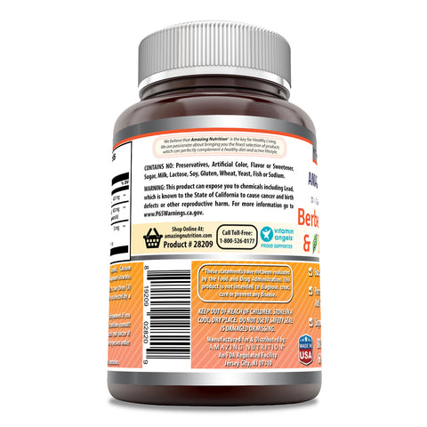 Amazing Formulas - Berberine, Turmeric & Bioperine Dietary Supplement - 800 MG per Serving - 60 Veggie Capsules - Potent Anti-Inflammatory - Supports Overall Health