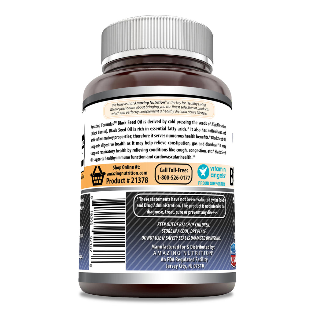 Amazing Formulas Black Seed Oil 1000 Mg Per Serving 100 Softgels