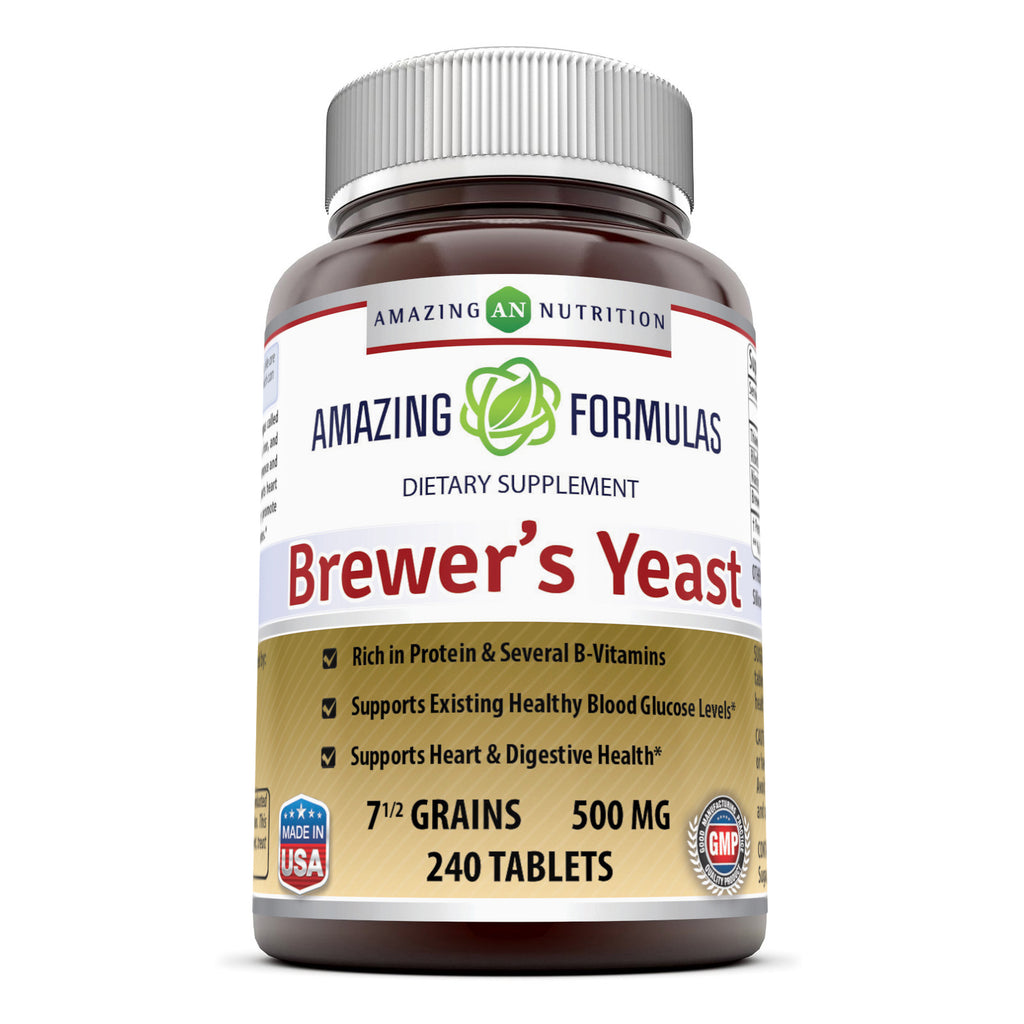 Amazing Formulas Brewers Yeast 7.5 Grains 500 Mg 240 Tablets - Amazing Nutrition