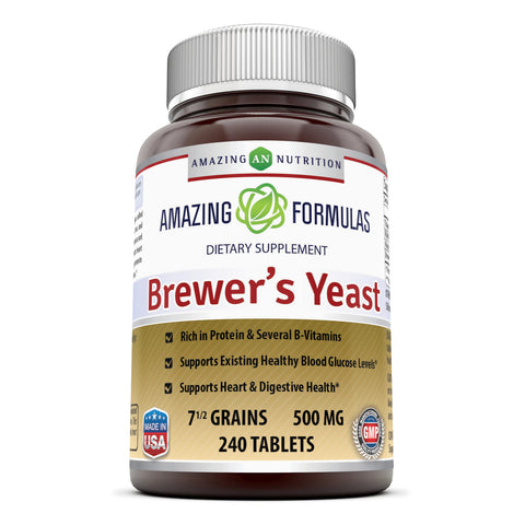 Image of Amazing Formulas Brewers Yeast 7.5 Grains 500 Mg 240 Tablets - Amazing Nutrition