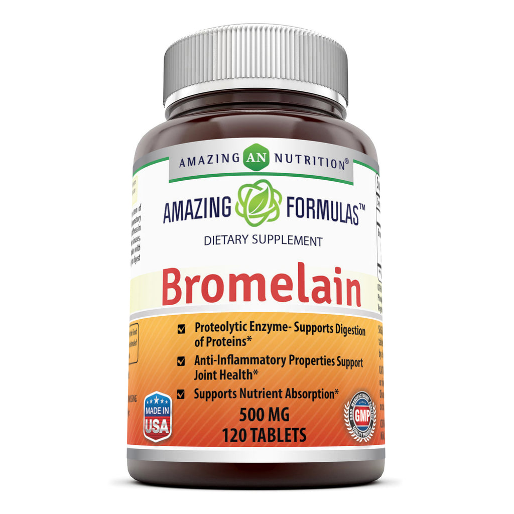 Amazing Nutrition Bromelain Proteolytic 500 mg, 120 Tablets Digestive Enzymes Supplements (Non-GMO,Gluten Free) Promotes Digestive Health,Anti-Inflammatory Properties And Nutrient Absorption.