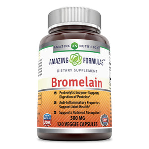 Amazing Formulas Bromelain-500 mg,2400 GDU-120 Veggie Capsules - (Non-GMO, Gluten Free) Proteolytic Enzymes-Supports Dijestion of Proteins-Anti-Inflammatory Properties-Supports Nutrient Absorption