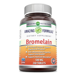 Amazing Formulas Bromelain - 500 Mg, 240 Tablets (Non-GMO,Gluten Free) - Proteolytic Enzymes - Supports Dijestion of Proteins - Anti-Inflammatory Properties - Supports Nutrient Absorption.