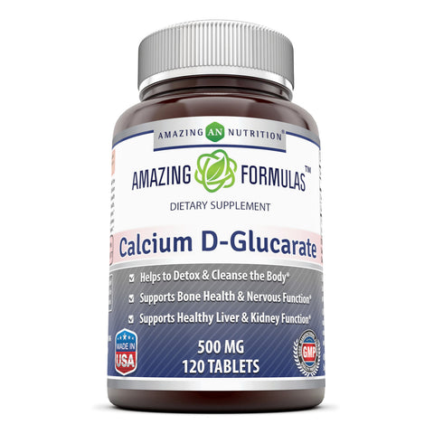Image of Amazing Formulas Calcium D Glucarate 500 Mg 120 Tablets - Amazing Nutrition