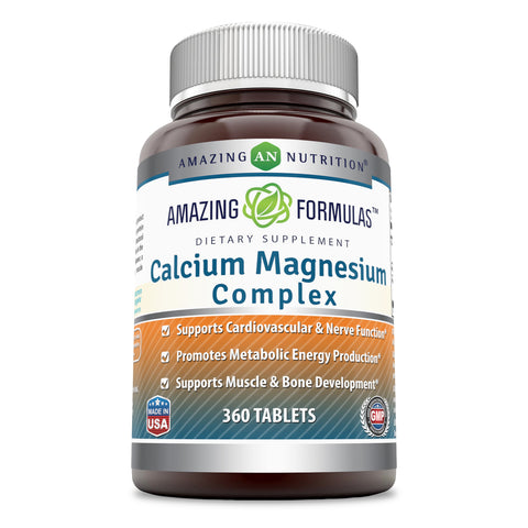 Image of Amazing Formulas Calcium Magnesium Complex - 360 Tablets (Non-GMO,Gluten Free) - Supports Cardiovascular & Nerve Function - Promotes Metabolism Energy Production - Supports Muscle & Bone Development