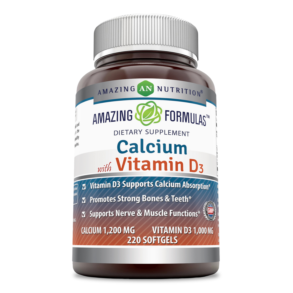 Amazing Formulas Calcium With Vitamin D3 Calcium 1200 Mg Vitamin D3 1000 Mg 220 Softgels - Amazing Nutrition
