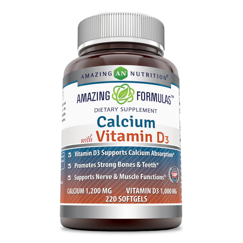 Image of Amazing Formulas Calcium With Vitamin D3 Calcium 1200 Mg Vitamin D3 1000 Mg 220 Softgels - Amazing Nutrition