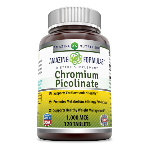 Amazing Nutrition Chromium Picolinate Supplement 1000 mcg Tablets Pills - 120 Tablets Supports Healthy Weight Management,Healthy Metabolism  & Promotes Cardiovascular Health (Non-GMO, Gluten Free)