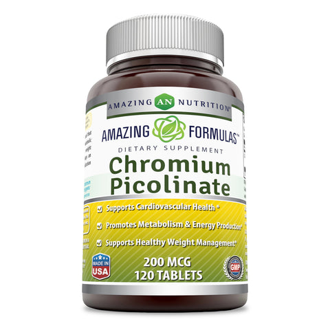 Image of Amazing Formulas Chromium Picolinate Supplement - 200 mcg Tablets Pills - 120 Supports Healthy Weight Management,Healthy Metabolism & Promotes Cardiovascular Health.