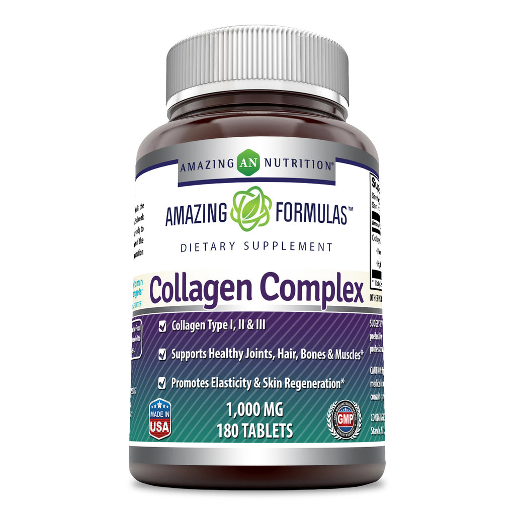Amazing Formulas Collagen Complex Dietary Supplement-1000 Mg-180 Tablets (Non-GMO,Gluten Free) Promotes a Healthier Digestive System, Healthy Skin and Joints - Supports Immune Function