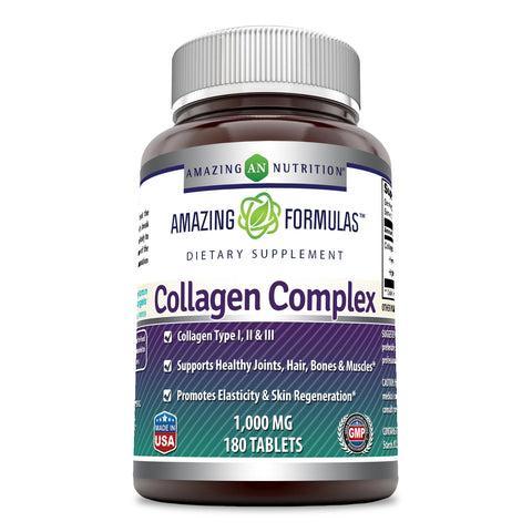Image of Amazing Formulas Collagen Complex Dietary Supplement-1000 Mg-180 Tablets (Non-GMO,Gluten Free) Promotes a Healthier Digestive System, Healthy Skin and Joints - Supports Immune Function