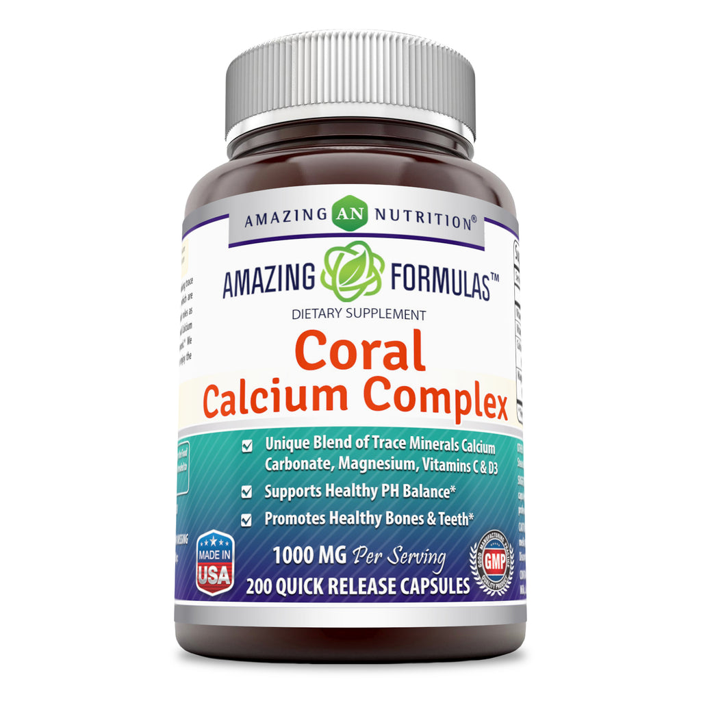 Amazing Formulas Coral Calcium Complex Dietary Supplement - 1000 mg - 200 Quick Release Capsules - Promotes Healthy PH Balance - Supports Healthy Bones and Teet