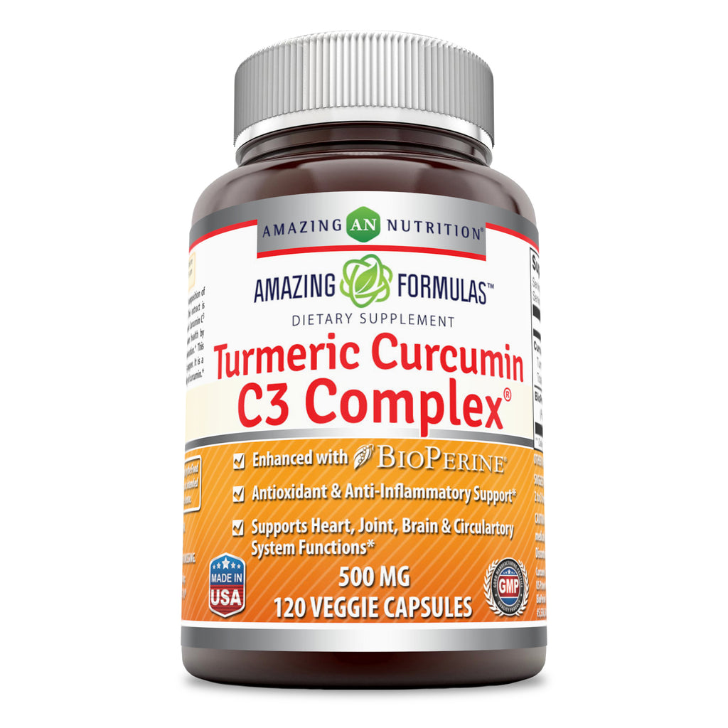 Amazing Formulas Turmeric Curcumin C3 Complex 500 Mg 120 Veggie Capsules - Enhanced with BioPerine, antioxidant & Anti-inflammatory Support and Supports Heart, Joint, Brain & Circulatory System