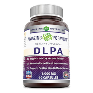 Amazing Formulas DLPA 1000 Mg 60 Capsules (Non-GMO,Gluten Free) Supports Healthy Nervous System* Promotes Formation of Neurotransmitters* Supports Positive Mood & Mental Alertness