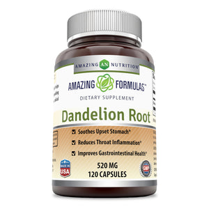Amazing Formulas Dandelion Root Dietary Supplement 520 mg 120 Capsules
