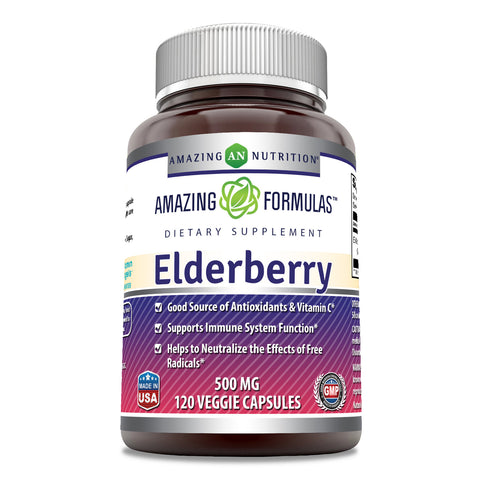 Amazing Formulas Elderberry 500mg 120 Veggie Capsules -Equivalent to 5000 mg -Supports Immune System Health -Good Source of Vitamin C & Antioxidants