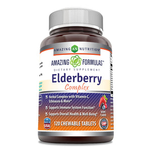 Amazing Formulas Elderberry Complex 120 Chewable Tablets - Full of Vitamin C, Elderberry, Echinacea, Marshmallow Extract and More - Supports a Healthier Immune System