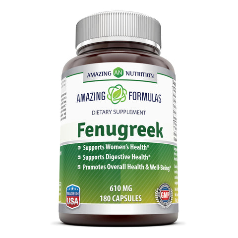 Image of Amazing Formulas Fenugreek Seed Supplement 610 Mg 180 Capsules