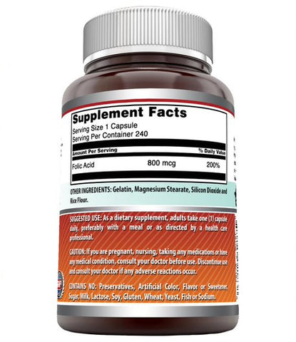 Image of Amazing Formulas Folic Acid - 800 mcg - 240 Capsules - Provides Energy Support - Supports Red Blood Cell Production - Bolsters The Immune System