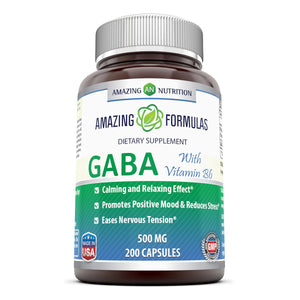 Amazing Formulas GABA with Vitamin B 6 500 mg 200 Capsules