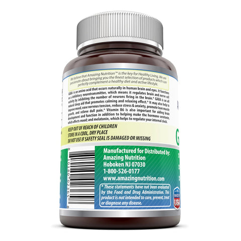 Amazing Formulas GABA 500mg 200 Capsules (Gamma Aminobutyric Acid) with Vitamin B6 (Non-GMO,Gluten Free) - Natural Calming Effect - with Vitamin B-6 Promotes Relaxation - Eases Nervous Tension And Healthy Weight Management