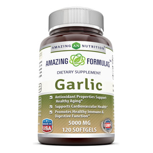 Amazing Nutrition Amazing Formulas Garlic Supplement – 5000 mg,120 softgels Equivalent to 5,000 mg of Fresh Garlic Bulb per softgel Antioxidant Properties
