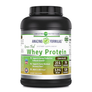 Amazing Formulas - Grass FED Whey Protein  5 Lb, Chocolate Flavor (Non-GMO,Gluten Free) Made with Natural Sweetener and Flavor - RBGH & RBST Free -Supports Energy Production,Muscle Growth And Healthy Heart.