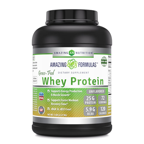 Image of Amazing Formulas - Grass FED Whey Protein  (5 LB,Unflavored)Made with Natural Sweetener and Flavor - rBGH & RBST Free -Supports Energy Production,Muscle Growth And Vital Nutrient For Health