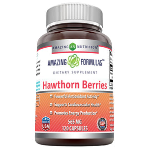 Amazing Formulas Hawthorn Berries 565mg 120 Capsules 100% Pure Hawthorne Berry Extract * Powerful Anioxidant Activity * Supports Cardiovascular Health And Supports A Healthy Heart*(Non-GMO,Gluten Free)