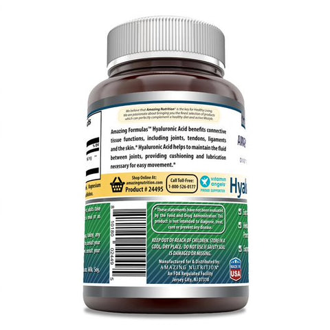 Image of Amazing Formulas Hyaluronic Acid 100 mg 120 Capsules (Non-GMO,Gluten Free) - Support Healthy Connective Tissue and Joints - Promote Youthful Healthy Skin