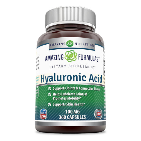 Amazing Formulas Hyaluronic Acid 100 mg Capsules (360 Count) - Support Healthy Connective Tissue and Joints - Promote Youthful Healthy Skin