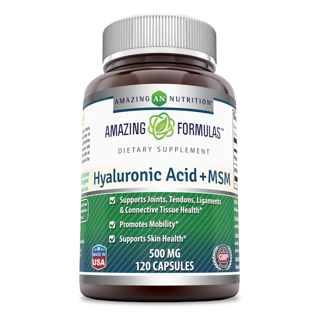 Amazing Formulas Hyaluronic Acid & MSM Dietary Supplement 500 mg 120 Capsules