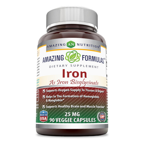 Image of Amazing Formulas Iron as Iron Bisglycinate 25 Mg (90 Count) Veggie Capsules (Non-GMO,Gluten Free) - Supports Oxygen Supply to Tissues & Organs-Helps in The Formation of Hemoglobin&Myoglobin.