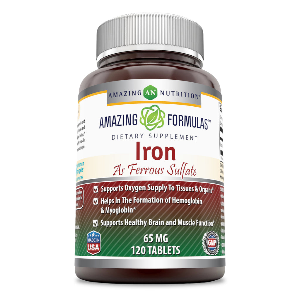 Amazing Formulas Iron as Ferrous Sulfate 65 Mg 120 Tablets