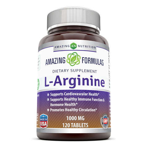 Amazing Nutrition L-Arginine 1000mg Supplement  120 Tablets