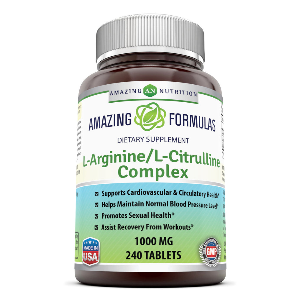 Amazing Nutrition L-Arginine/L-Citrulline Complex 1000 Mg*  (240 Tablets) Combines Two Amino Acids with Potential Health Benefits * Supports Energy Production * Ads to Improve Athletic Performance