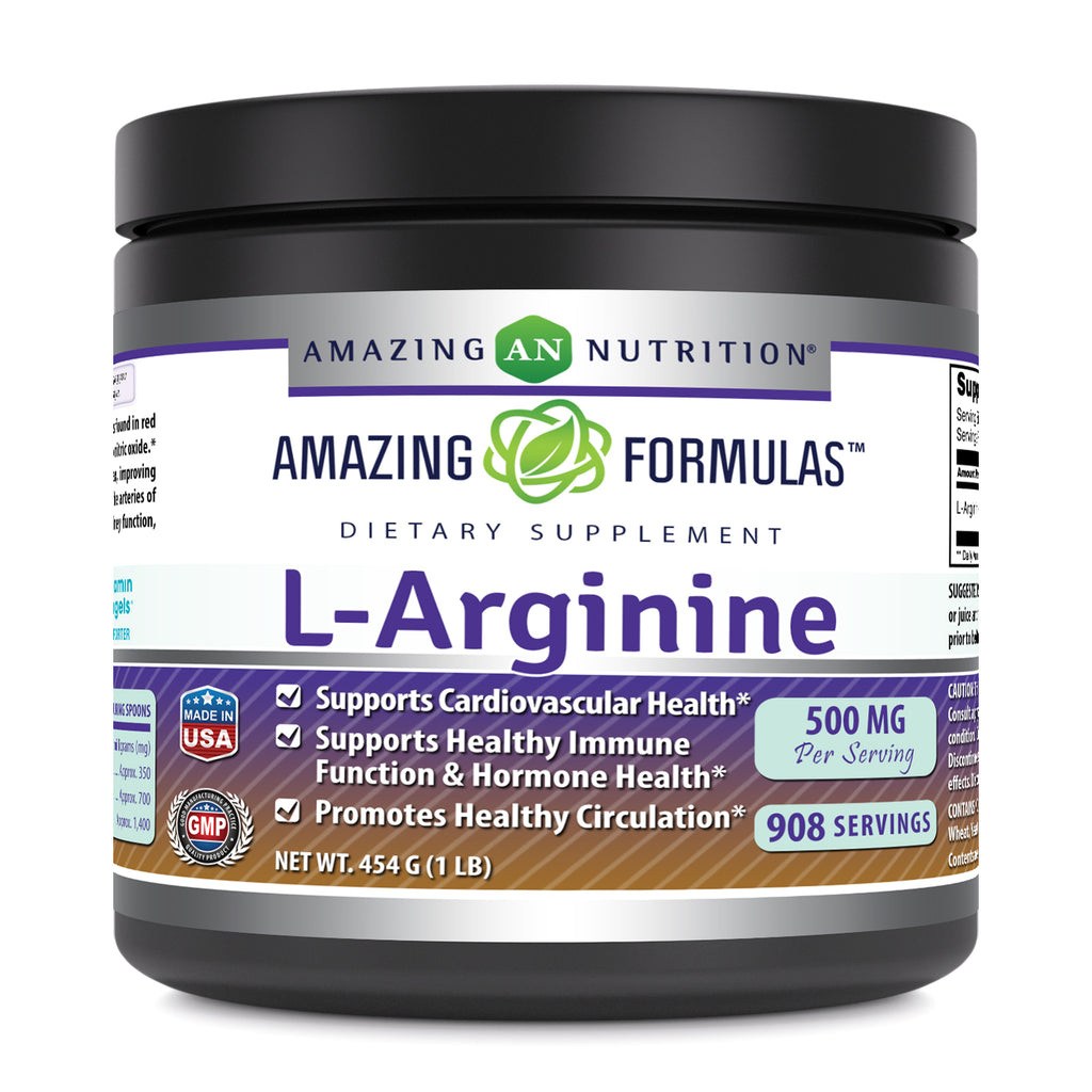 Amazing Nutrition Amazing Formulas L-Arginine 1 lb- (Approx. 454 Servings) Essential Amino Acid Powde Unflavored – 1g Per Serving - Workout Muscle Recovery Supplement Improve Strength, Power And Muscle Growth