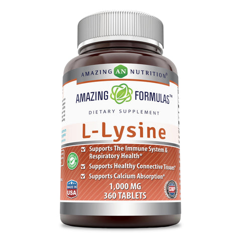Amazing Nutrition Amazing Formulas L-Lysine - 1000mg 360 Vegetarian Tablets Amino Acid Vitamin Tablets - Commonly Used for Cold Sores, Shingles, ImmuneSupport, Respiratory Health & More