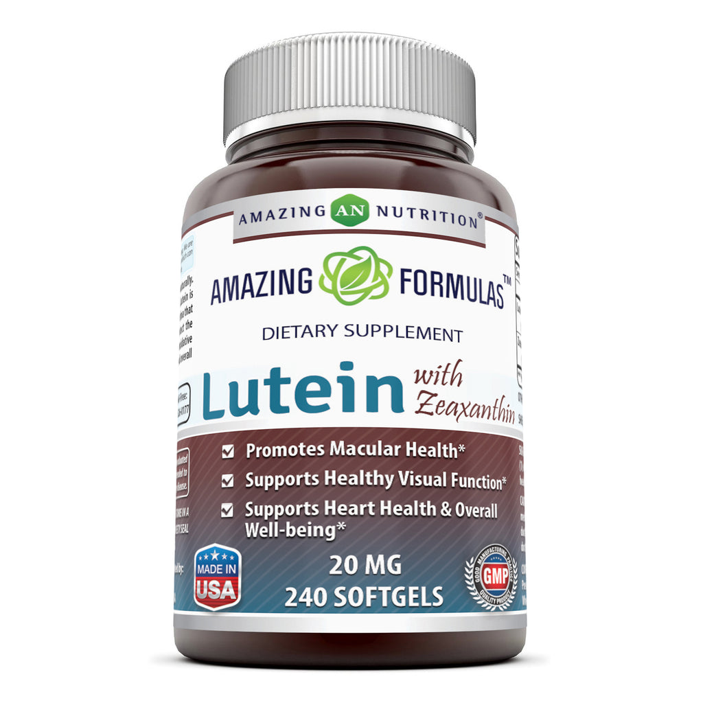 Amazing Nutrition Amazing Formulas Lutein 20 mg with Zeaxanthin 800 mcg- 240 Softgels- Supports Eye Health,Healthy Vision & Overall Well-being