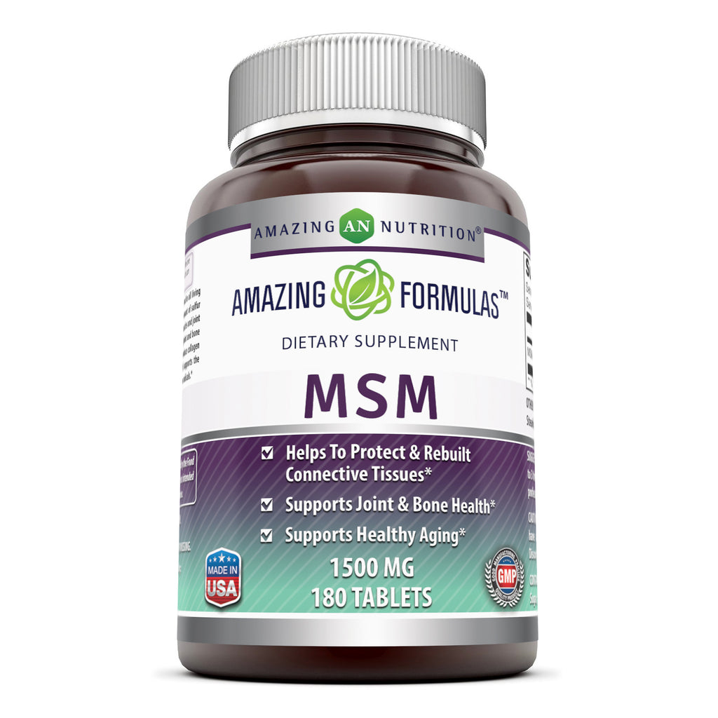 Amazing Formulas MSM (Methylsulfonylmethane)1500 mg 180 Tablets