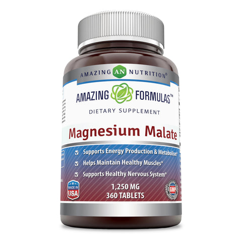 Amazing Formulas Magnesium Malate 1250 mg per Serving 360 Tablets