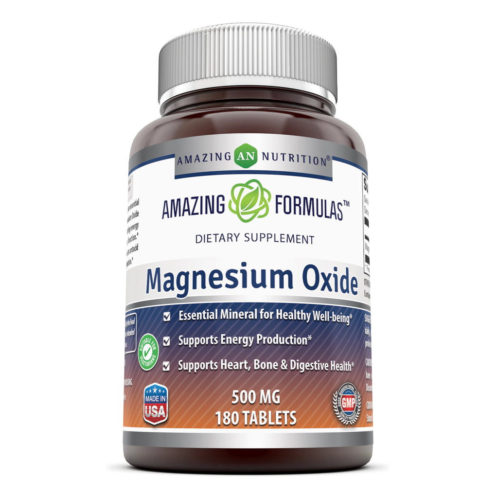 Amazing Formulas Magnesium Oxide 500 Mg 180 Tablets - Amazing Nutrition
